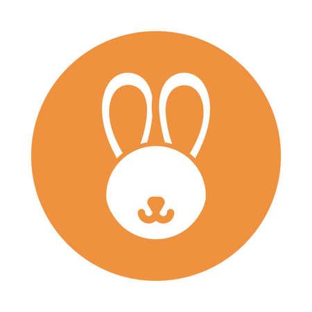 head of cute rabbit , block and flat style icon vector illustration design