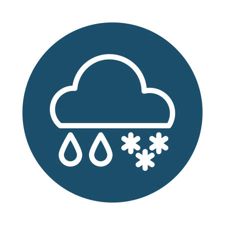 cloud with rain and snow, block and flat style icon vector illustration design