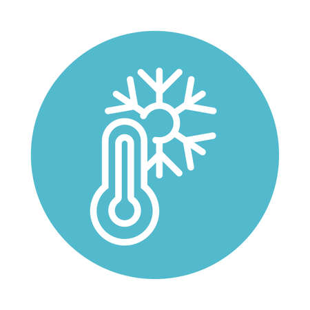 thermometer with snow, block and flat style icon vector illustration design