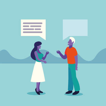 business couple with speech bubble vector illustration design
