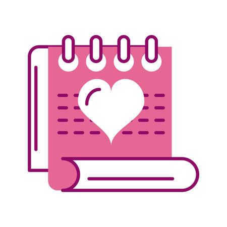 calendar reminder, half line and color style icon vector illustration desing 向量圖像