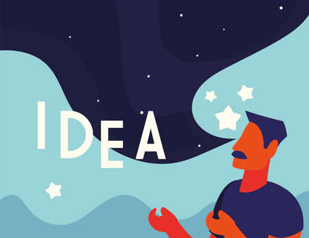 businessman with idea label, people and ideas vector illustration design Illustration