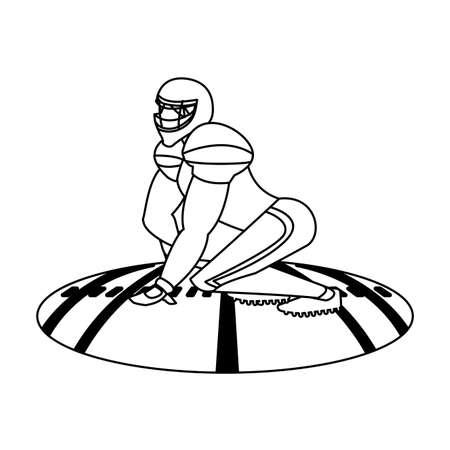 man football player of rugby , sportsman with uniform on stadium grass vector illustration design  イラスト・ベクター素材