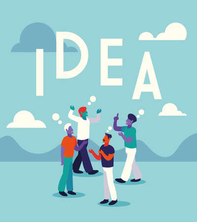 businessmen with idea label, people and ideas vector illustration design Ilustracja