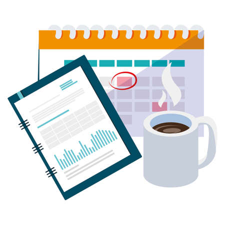 calendar reminder with coffee cup and notepad vector illustration design
