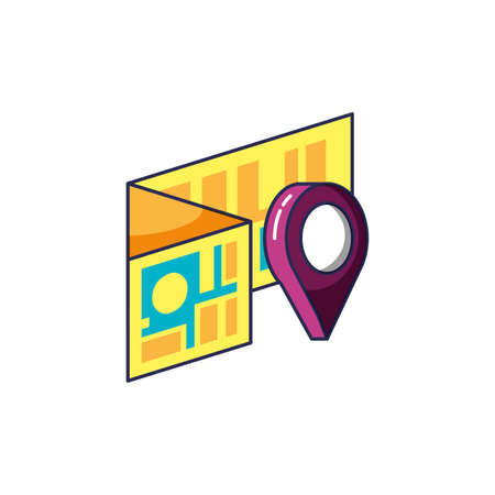 pin pointer location with map guide location vector illustration design