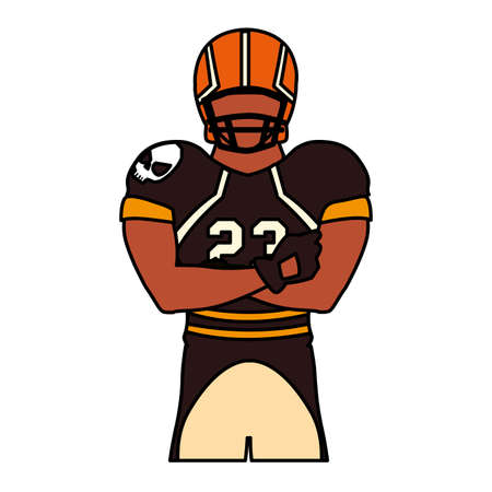 man team player american football with uniform on white background vector illustration design  イラスト・ベクター素材