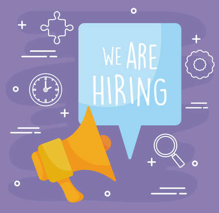 We are hiring message with megaphone design, job work employee business employment career recruitment wanted interview employer and recruit theme Vector illustration