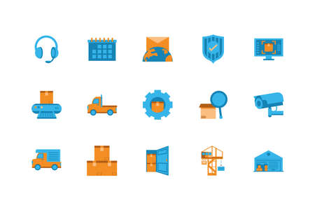 Icon set design, Delivery logistics transportation shipping service warehouse industry and global theme Vector illustration Illustration