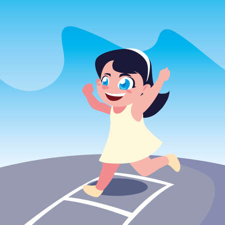 Girl cartoon jumping design, Kid childhood little people lifestyle and person theme Vector illustration
