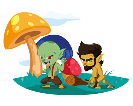 ugly troll with caveman gnome in the camp magic characters vector illustration Vectores