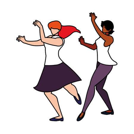 women in pose of dancing on white background vector illustration design