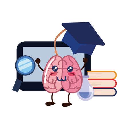 brain cartoon tablet education book science hat vector illustration Ilustração