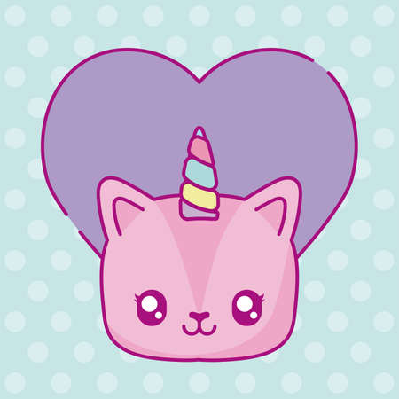 kawaii unicorn with purple heart icon over blue background, colorful design, vector illustration