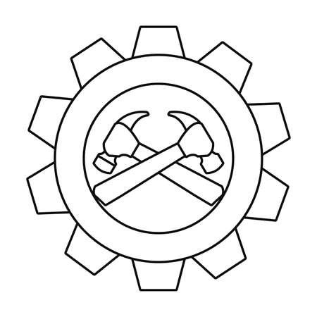 hammers gear construction tool vector illustration design