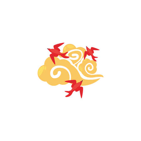 Chinese cloud and red birds design, China culture asia travel famous asian and oriental theme Vector illustration