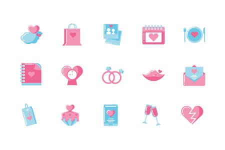 Icon set design of Love valentines day wedding passion romantic decoration and marriage theme Vector illustration Çizim