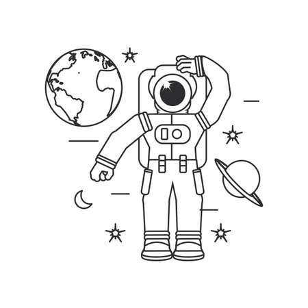 astronaut suit with planet earth and set icons vector illustration design Ilustracja