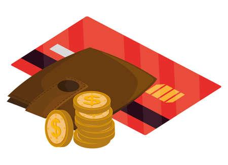 credit card with wallet money vector illustration design 写真素材 - 142150482
