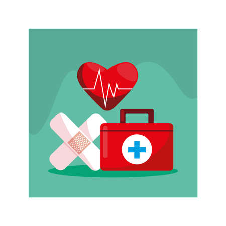 first aid kit medical, health day vector illustration design