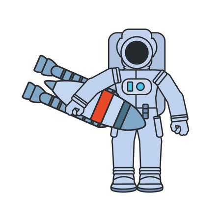 astronaut suit with rocket isolated icon vector illustration design Zdjęcie Seryjne - 142152755