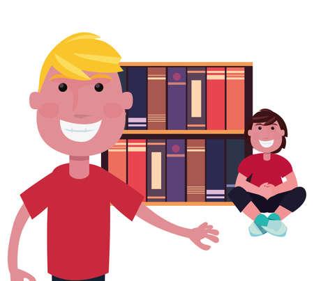 teenagers world bookshelf learning vector illustration design