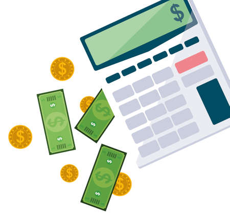 office supplies with calculator and set items vector illustration design  イラスト・ベクター素材