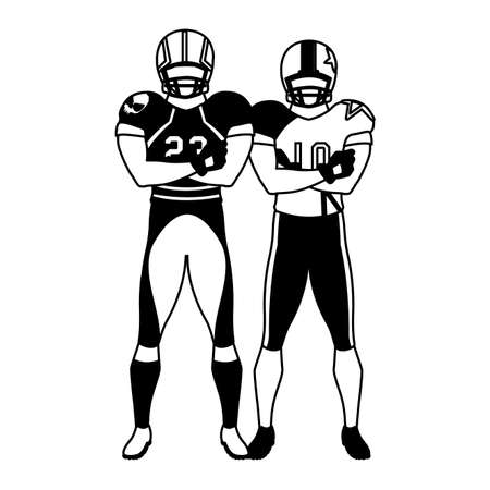 men players american football on white background vector illustration design