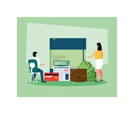couple of people in tax day with icons vector illustration design 写真素材 - 142153274