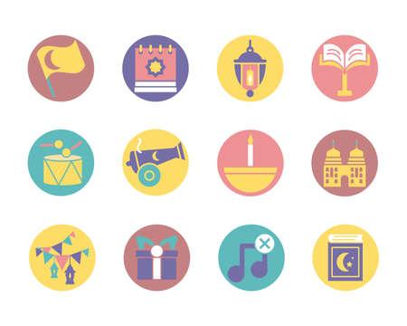 ramadan icon set over white background, block style, vector illustration