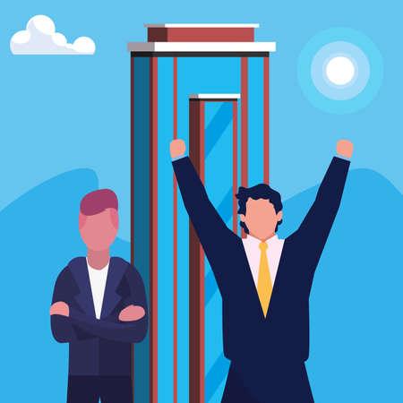 businessmen city building urban background vector illustration Иллюстрация