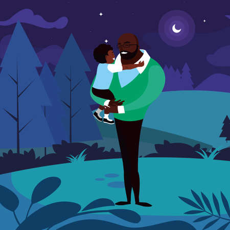 afro father with son in the field at night vector illustration design