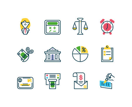 cartoon business woman and tax day icons set over white background, half color style, vector illustration  イラスト・ベクター素材