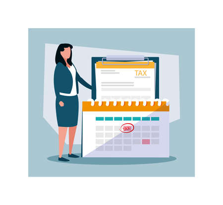 businesswoman in tax day with icons vector illustration design 写真素材 - 142154103