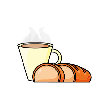 delicious bread slice with hot drink icon vector illustration design Ilustracja