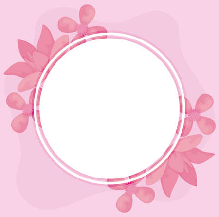 pink flowers and circular frame over pink background, colorful design, vector illustration