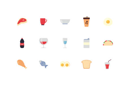 icon set pack design, food drinks eat restaurant menu dinner lunch cooking and meal theme Vector illustration Archivio Fotografico - 142154487