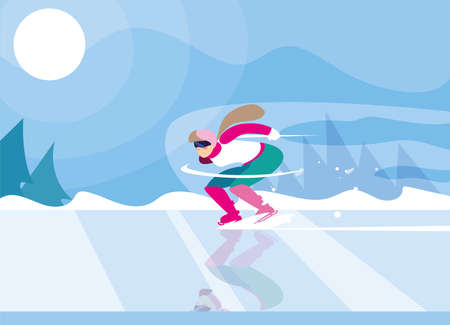 woman skating on ice rink, winter sport vector illustration design  イラスト・ベクター素材