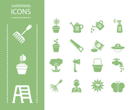 gardening icons over white background, silhouette style, vector illustration
