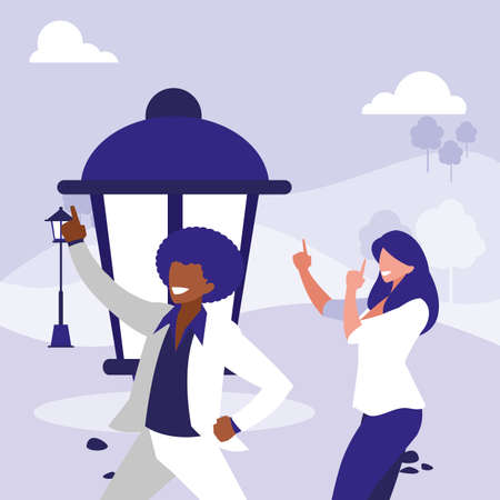 young interracial couple dancing in the park vector illustration design Banque d'images - 142197275