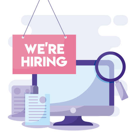 We are hiring message with computer and lupe design, job work employee business employment career recruitment wanted interview employer and recruit theme Vector illustration