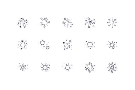 Fireworks icon set design, Celebration festival event holiday party anniversay explosion and festive theme Vector illustration