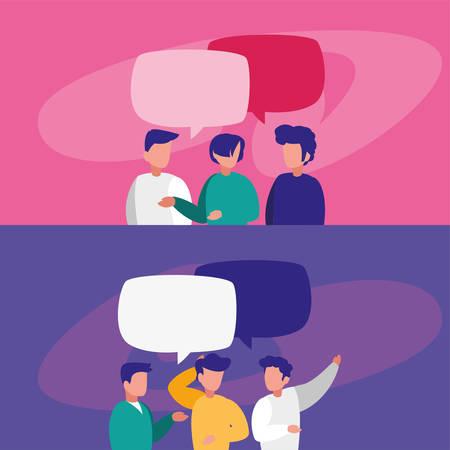 men with communication bubbles design, Message discussion conversation talk and technology Vector illustration