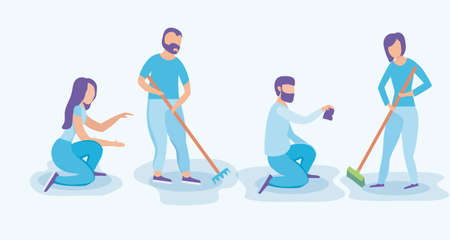 group people cleaning with tools vector illustration design Ilustração