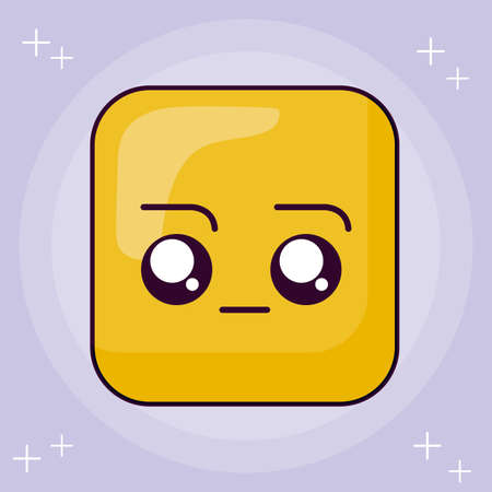 bored square cartoon design, Kawaii expression cute character funny and emoticon theme Vector illustration