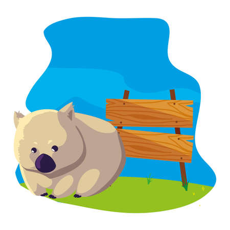 cute australian wombat with background landscape vector illustration design Ilustração