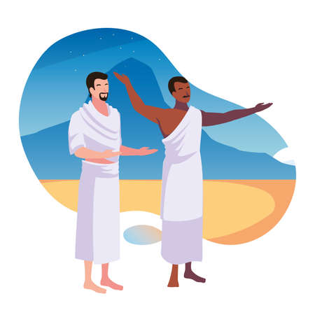 men pilgrim hajj , day of Dhul Hijjah vector illustration design