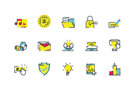Icon set design, Digital marketing ecommerce shopping online strategy media and seo theme Vector illustration