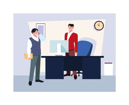 businessmen in the work office, coordinated work in friendly team in the office vector illustration design