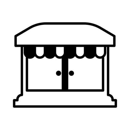 shop front with striped tent on white background vector illustration design Ilustração